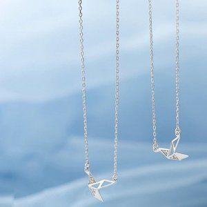 925 Sterling Silver Diamond Paper Crane Neckla
